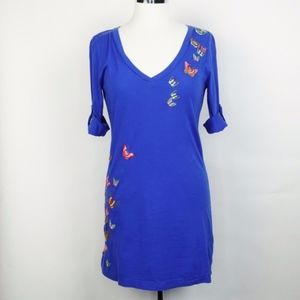 Johnny Was  Butterfly Embroidered Tunic Top Blue